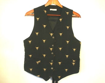 Vintage Old West Vest by I Magnin, Black Cotton with Embroidered Buffalo Skulls, Women's size M