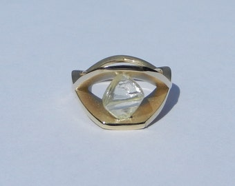 Natural Untreated 2.83 Carat Rough Diamond Engagement Ring Solid 18kt Yellow Gold ~ Gem Quality