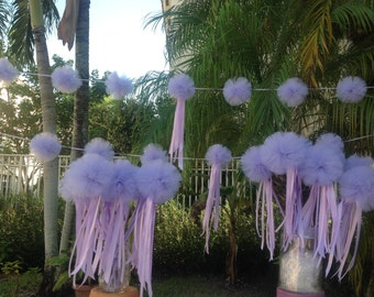 "Combo set of (12) fairy wands and a garland with a 6"" Centre Pom with extra ribbons"