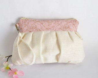 Pleated Wristlet Pouch Clutch Ivory Pastel Pink Floral Bridesmaid Gift Linen Cotton