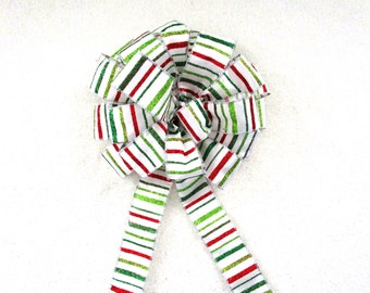 Red, Green & White Stripe Bow / Christmas Bow