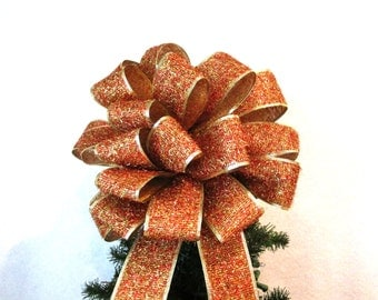 Christmas Bow, Christmas Tree Topper Bow, Sparkly Bow, Glitter Red Bow
