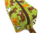 Knitting Project Bag - Small, Zippered Box Bag, Bermuda Cows, Zippered Project Bag, Knitting Bag, Crochet Bag, Spindle Bag