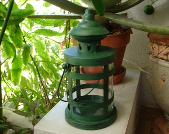 Vintage,aged green finish, tin metal & glass, small lantern, candle holder, old style, shabby chic