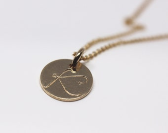 Cursive Initial Necklace // Gold Filled