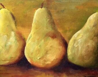 My Three Pears Original Oil Painting