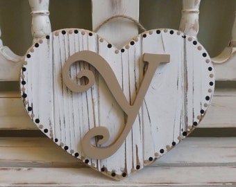 Wedding Custom Heart Plaque Wall Hanging Initial Monogram Personalized Name House Warming Gift Anniversary Rustic Shabby Chic
