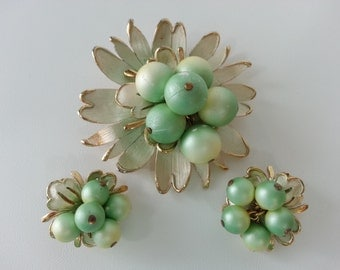 Mid-Century Brooch and Clip Earrings Set