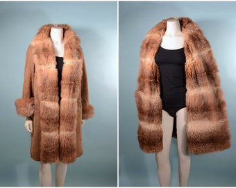 Vintage 60s Suede Fur Lined Mod Coat,  Soft Opossum Fur Princess Style Wrap Front Cozy Coat M/L