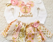 Reserved for Amy- Hot pink and gold Minnie set