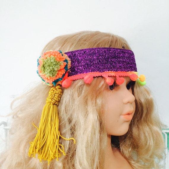 POM 3 Years Plus Festival Kids Girls Womens Headband Headpiece Pom Poms Unisex
