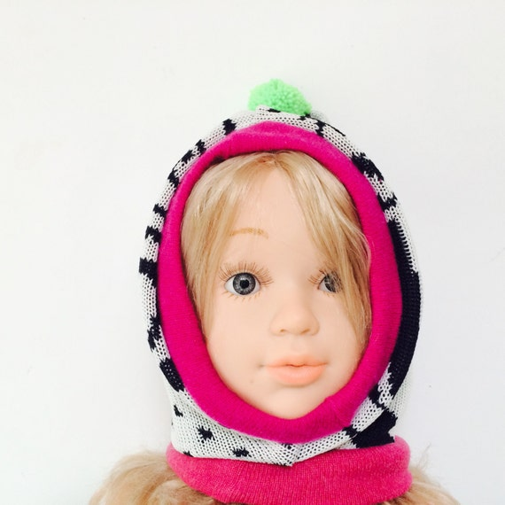 KOSELIG 3-6m Acrylic Toddler Hat Kids Childrens Balaclava Lined Cashmere Bobble Hat Snood Hoodie Knitted Wool Optional Pom Pom Unisex