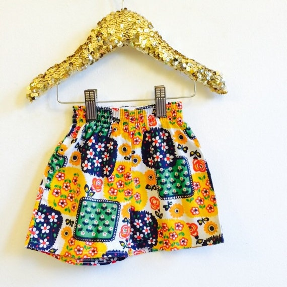 Vintage 3-6m Kids Shorts Vintage Pattern Pocket Unisex