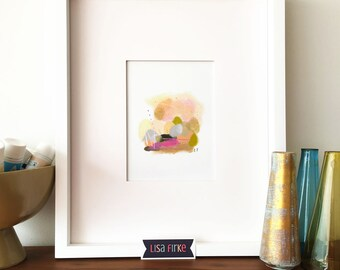 Gold and pink abstract landscape art print (tiny size)