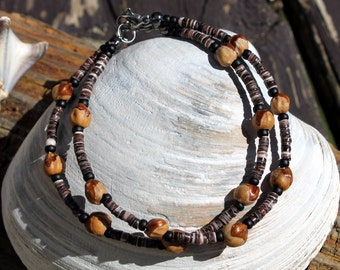 Navajo Ghost Beads Bracelets 4 Ways! Violet Oyster Shell, Sea Shell, Cedar Seeds, Native American Jewelry