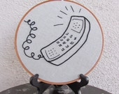 """Hoop Art """"Call Me"""" • Embroidered Retro Phone • Embroidery Wall Hanging / Home Decor • 7"""" Hoop Frame"""