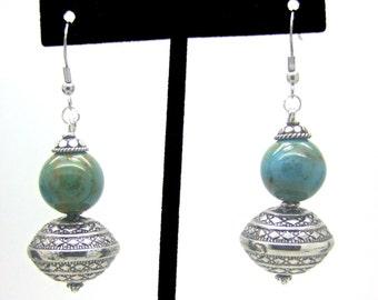Beaded Earrings, Boho Earrings, Hippie Earrings, Porcelain Earrings, Dangle Earrings, Silver Earrings, Blue Earrings, Green Earrings
