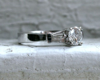 Classic Vintage 14K White Gold Diamond Engagement Ring with Baguettes - 0.75ct.