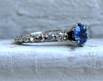 RESERVED - Vintage 14K White Gold Diamond and Ceylon Sapphire Engagement Ring - 2.62ct.
