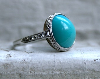 Antique Platinum Diamond and Turquoise Engraved Engagement Ring.