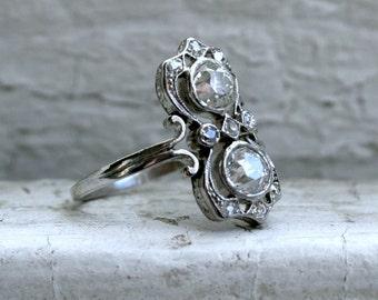 Stunning Antique Platinum Diamond Twin Stone Ring - 1.36ct.