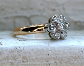 Floral Vintage 14K Yellow Gold Diamond Cluster Ring Engagement Ring.