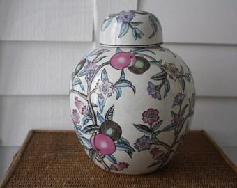 Large ginger jar, Chinoiserie, floral ginger jar,