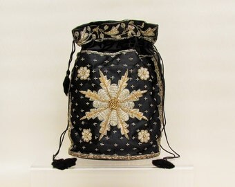 Vintage drawstring purse with silver and gold embroidery, black satin embroidered purse made in India, Zardosi evening bag