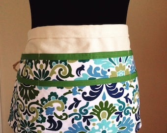 ON SALE Blue and green Utility Apron, Womens Vendor Apron, Teacher Apron, Carpenter Apron, blue and green apron, blue apron,money apron, cra