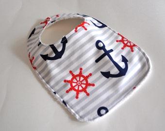 Baby bib, Anchor baby bib, Nautical Baby bib,  anchor bib, nautical bib, pirate bib, boat bib, boat baby bib, Baby gift for new mom
