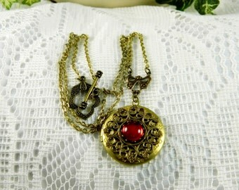 Necklace, Locket Necklace, Red Locket, Red Round Locket, Antiqued Brass Locket, Toggle Clasp