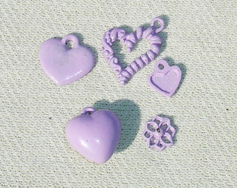 Purple Colored Heart Charms - 5 pcs - Jewelry Making Supplies