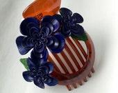 matilda's big hair clip - new flower blue