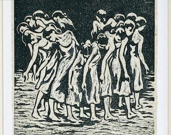 linocut handmade print 'Rite of Spring' contemporary dance/ballet by Pina Bausch