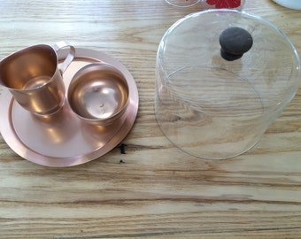 Rose Gold Aluminum Server with Creamer and Sugar Bowl