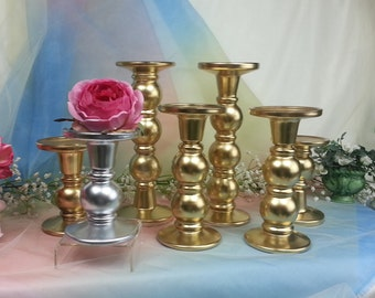Glass Round Candle Holders, Pillar Candle Holders, Clear  Gold votive holders, Wedding Centerpiece, Unity Candle Holder / 1 per order