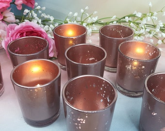 15 Rose Gold Mercury Glass Wedding Votive Candle Holders or Centerpieces /  parties /  weddings votives centerpieces / gift