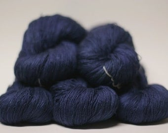 Lace Silk Yarn Hand dyed Pure Silk Nouveau Fin Navy