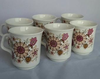 J G Meakin Filigree. Set of six coffee cups.