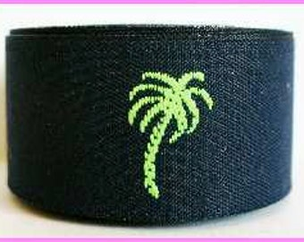 """Ribbon - 7/8""""  Navy Blue and Lime Green Palm Trees"""