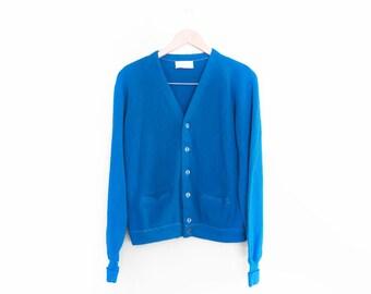 vintage cardigan / grandpa cardigan / grunge cardigan  / 1990s grunge blue cardigan Medium