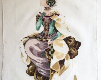 """Finished / Completed Cross Stitch Mirabilia's """"Autumn Queen"""" by Permin crossstitch counted cross stitch"""