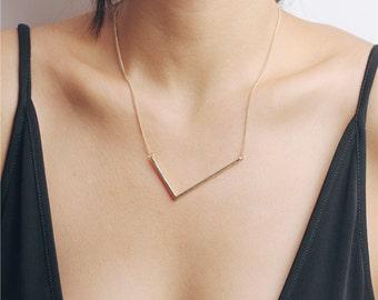 Large V necklace - irregular V gold necklace - geometry necklace - statement necklace