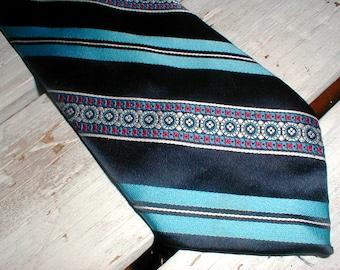 1970s Johnny Carson Polyester Necktie *Blue Black Red* Retro Wide Tie *70s Style*