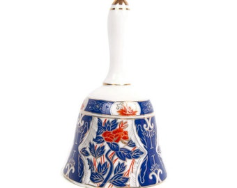 Vintage IMARI JAPAN Bell Cobalt Blue Orange Floral Design Fine Porcelain