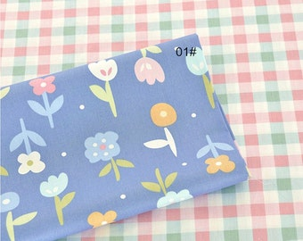 Twill Cotton Fabric for craft, Cartoon Flower Gingham Pattern on Coordinate fabric, Quilting Fabric 1/2 Yard (QT989)