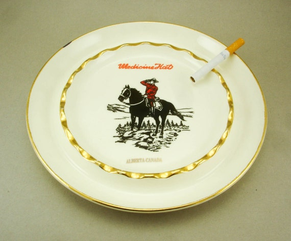 1950s Medicine Hat Alberta Canada Large Canadian Mountie on Horse Ashtray White Pottery with 22K Gold accents by Hycroft Canada