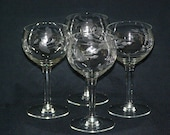 Vintage Princess House Crystal Heritage Stemmed Wine Liquor Glasses Set of Four 4