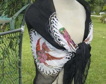 """20% OFF Colorful Tropical Fish on Black & White Fringed Sheer Scarf Shawl, Burlesque, Hippie, Beach, Scarf, Showgirl, 3"""" Fringe"""