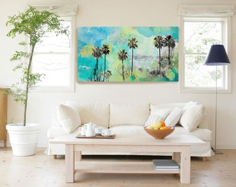 Malibu. California. Palm trees. Original Mixed Media Hand-Painted digital canvas print with Acrylic by Irena Orlov, Large canvas 30 x 60""